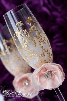 Blush pink, gold Wedding Champagne glasses/  Handmade flower toasting flutes/ Set of 2 by DiAmoreDS on Etsy