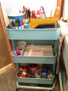 Ikea has a version of this cart- buying 3 for Home School Room Redo Ikea Cart, Supply Room, Tiny House Blog, Office Supply Organization, Organization Hacks, Classroom Organization, Art Cart, Classroom Setup, School Classroom