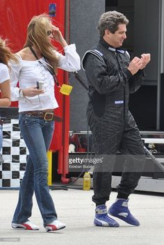 Jeff Soffer and Elle Macpherson at Homestead-Miami Speedway March 7, 2010 in Homestead, Florida.