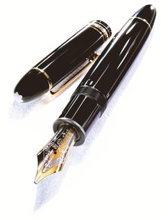 Mont Blanc Meisterstuck 149 Fountain Pen. (Sailor's nib is better at making a line with varied thickness, being more flexible than the typically rigid European nib in Mont Blanc.)