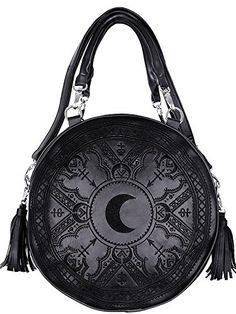Restyle Gothic Occult Henna Round Bag Black Black Faux Leather Moon Handbag 8a1897afd0fca