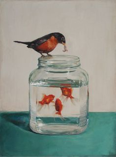 Surrogate (painting by Springhofeldt on etsy). Robin feeding mealworms to goldfish. Art And Illustration, Art Graphique, Fish Art, Art Plastique, Painting & Drawing, Time Painting, Giclee Print, Cool Art, Photos