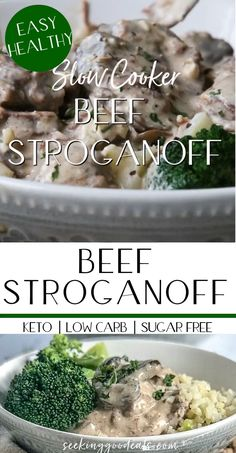 Slow cooker beef stroganoff recipe is the easiest and most delicious low carb and keto recipe you can make! Loaded with beef. D a rich cr Slow Cooker Keto Recipes, Low Carb Slow Cooker, Healthy Recipes, Easiest Crockpot Recipes, Best Easy Recipes, Delicious Crockpot Recipes, Oven Recipes, Pudding Recipes, Crockpot Meals