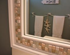 Want a half bathroom that will impress your guests when entertaining? Update your bathroom decor in no time with these affordable, cute half bathroom ideas. Home Projects, Beach Theme Bathroom, Home Decor, Bathroom Mirror, Mirror Decor, Home Diy, Bathroom Design, Bathroom Decor, Bathroom Redo