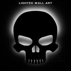 Lighted Skull Wall Art - Gothic Metal Decor