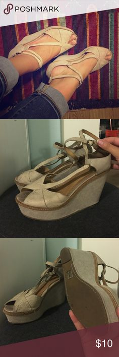 Anthropologie Schuler and Sons Peep toe wedges Soft suede material up top, canvas covered wedge. Well worn but good condition. Cool ankle wrap detail and GREAT neutral color. Anthropologie Shoes Wedges