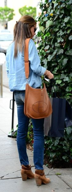 8b5ba0f7652 2d9ed bba45  discount alessandra ambrosio shops in beverly hills carrying a  tan leather hermes evelyne bag 26a2c d5d0c