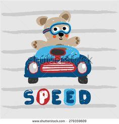 Cute teddy bear racer artwork design. Vector design for kids wear and poster design. - stock vector