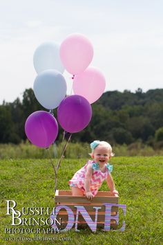Newborn, baby, pictures, 1 year old, balloons, crate, basket, pinks, green, purple, girl
