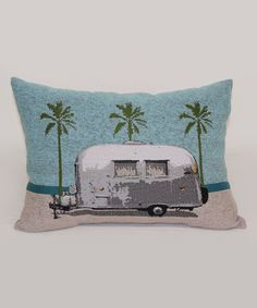 Look at this Light Blue Palm Trailer Throw Pillow on #zulily today!