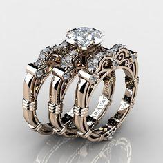 7c8f9dcd60a Art Masters Caravaggio Trio 14K Rose Gold 1.25 Ct Princess White Sapphire  Diamond Engagement Ring Wedding Band Set R623PS3-14KRGDWS. Black ...