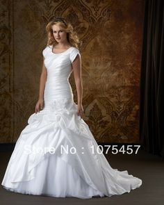 2014 Simple Wedding Dresses White Taffeta High Collar Short Sleeve Pleat Flowers Zipper Back Free Shipping WJ272