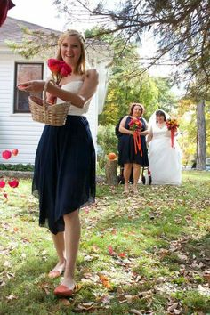 Wedding party navy, orange, fuschia
