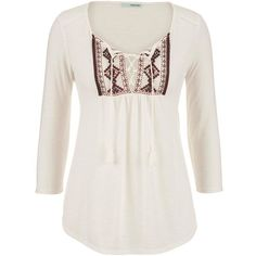 maurices Embroidered Front Peasant Top With Ties ($12) ❤ liked on Polyvore featuring tops, shirts, beige, embroidered shirts, layering shirts, polyester shirt, v-neck shirt and white shirt