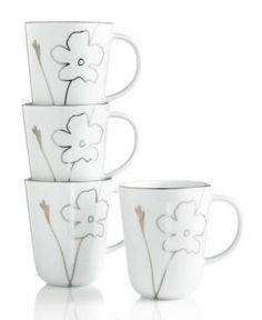 Charter Club Dinnerware, Set of 4 Grand Buffet Platinum Silhouette Mugs  #Home #Tableware #CoolFinds