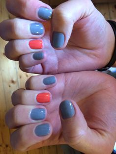 Sadly not my work, treated myself to a professional grey and coral mani!