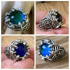 Weird Jewelry, Boho Jewelry, Handmade Jewelry, Etsy Handmade, Mood Ring Colors, Amethyst Quartz, Jar Gifts, Blue Rings, Silver Man