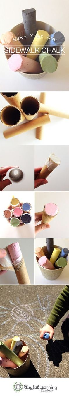 {Make Your Own Sidewalk Chalk} Using Tempera Paint *Too cool