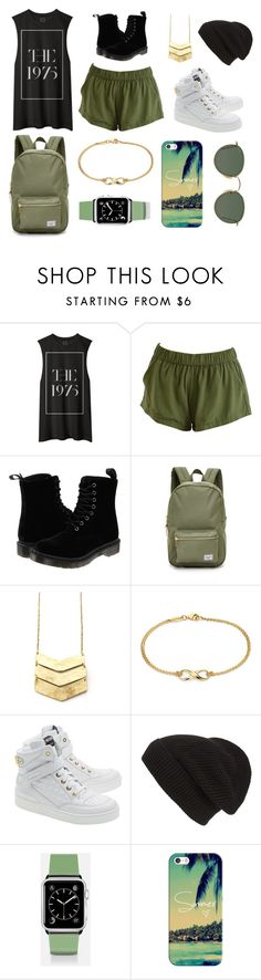 """""""Army Green"""" by full-on-imagination ❤ liked on Polyvore featuring Dr. Martens, Herschel Supply Co., Blue Nile, Moschino, Phase 3, Casetify and Ray-Ban"""