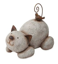 Details about Whimsical Garden Statues Outdoor Decor Resting Cat Stone Sculpture Lawn Ornament - Her Crochet Bird Statues, Garden Statues, Garden Sculptures, Stone Crafts, Rock Crafts, Rock Sculpture, Rock Design, Modern Design, Pet Rocks