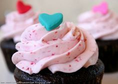 Chocolate Cupcakes with Fresh Strawberry Buttercream Frosting