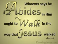 """the one who says he abides in Him ought himself to walk in the same manner as He walked"" -  1 John 2:6"