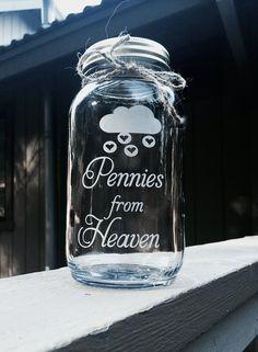 Pennies from Heaven Mason Jar Quart Mason Jar by EtchedExpressions
