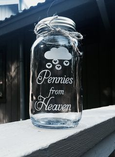 Pennies from Heaven Mason Jar Quart Mason Jar by EtchedExpressions