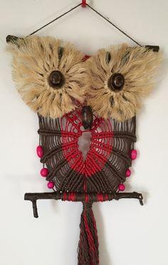 OWL #104 Macrame Wall Hanging, natural jute, sisal