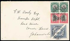 South Africa,- 1926 (Jan 1) First Day Cover bearing all three stamps issued on this day, with pairs of the 1/2d and 1d and 4d singles with both English and Afrikaans inscriptions all cancelled by Benoni c.d.s, a very scarce F.D.C with pairs of all stamps. Photo on Page 139. £300-350    Dealer  Argyll Etkin    Auction  Minimum Bid:  255.00 GBP