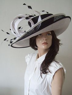 Snoxells Black and White Anna Double Brim Hat Hire from Dress-2-Impress.com Hat Hire