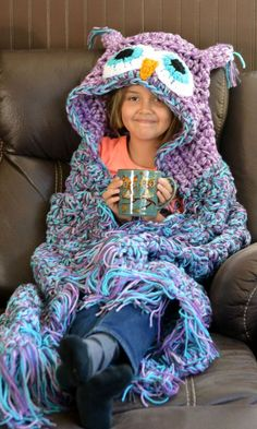 MJ's Off the Hook - Adult Size - Owl Blanket - Hooded Owl Blanket - Handmade by Crochet Express - Made in the USA by chatterbox1873 on Etsy