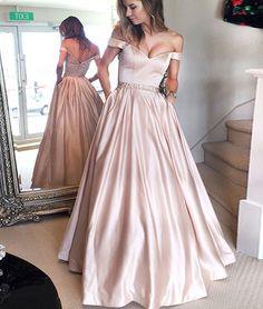 Cute off shoulder long prom dress, long formal dress