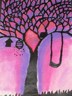 "Pastel tree painting by a 2nd grader; 12"" X 18""; art teacher: Susan Joe"