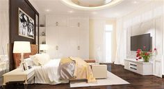 Không gian phòng ngủ của vợ chồng có tông màu trung tính hài hòa với tổng thể chung của ngôi nhà. Vật dụng nội thất giản dị mà hiện đại.