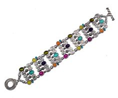 Toggle style bracelet in antique silver with multicolored beads and etched metal. Matching necklace (JBN774) and earrings JBE774A/B) are available.