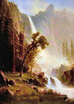 Bridal Veil Falls Yosemite by Albert Bierstadt