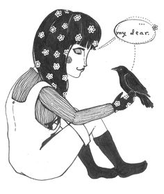 an illustration of a girl and a crow...