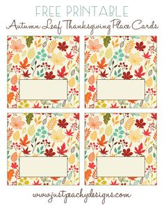 Just Peachy Designs: Free Printable Thanksgiving Place Cards