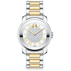 Movado Bold Luxe Crystal & Two-Tone Stainless Steel Bracelet Watch ($675) ❤ liked on Polyvore featuring jewelry, watches, apparel & accessories, crystal bracelet watch, stainless steel watches, pave crystal jewelry, crystal watches and crystal jewelry
