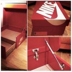 Nike & Air Jordan Slide Out Wooden Sneaker Box Storage by Designer Woodist Punk Giant Shoe Box Storage, Shoe Storage, Storage Boxes, Sneakers Box, Sneakers Nike, Adidas Shoes, Jordan Sneakers, Jordan Shoes, Sneaker Storage
