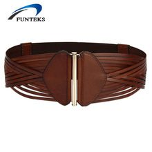 FUNTEKS 2017 High Quality Weave Women Belt Female First Layer Genuine Leather Belts for Women Strap Vintage Wide Belts for Dress //FREE Shipping Worldwide //