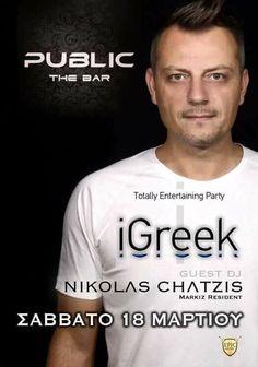 Totally Entertaining Party @ PUBLIC The Bar στη Βέροια !  Guest DJ : Nikolas Chatzis (Markiz Resident) Party Entertainment, Dj, Public, Entertaining, Mens Tops, T Shirt, Supreme T Shirt, Tee, Funny