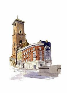 Watercolor from the streets of Copenhagen, Denmark, by Frits Ahlefeldt.