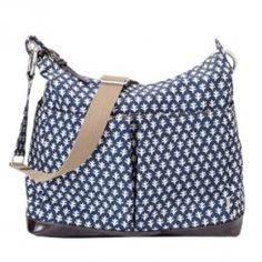 OiOi Monaco Navy Patent Trim Hobo Diaper Bag
