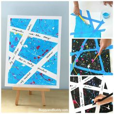 baby art Inspirational Splatter Paint Art Project for Kids Art Projects For Teens, Art For Kids, Deco Miami, Painted Initials, Splatter Art, Splatter Paint Canvas, Collaborative Art, Baby Art, Preschool Art