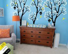 Huge Nursery Tree With Birdhouse Birch Tree Wall Sticker Kids Baby Bedroom Art Cute Decor Vinyl Removable Wall Mural T-10