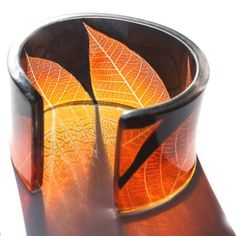 Skeleton leaf cuff (Black and ginger) cuff made from resin - Sue Gregor