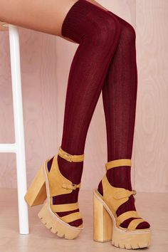 Rise Up Socks - Burgundy | Shop Accessories at Nasty Gal