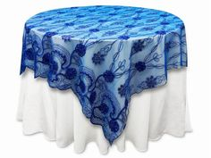 """72""""x72"""" Fashionista Table Overlays - Royal Blue Lace Netting"""